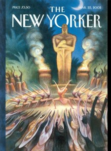 "A New Yorker cover featuring Oscar ""worshipers"""