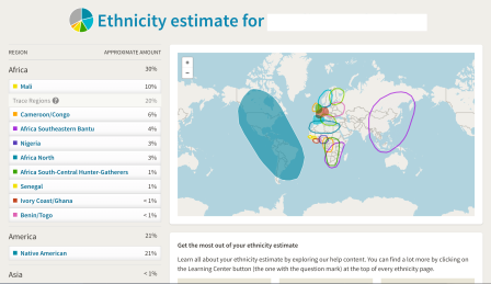Ancestry DNA Result Screenshot